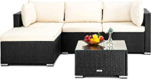 Pamapic 5 Pieces Patio Sectional Set, PE Rattan Steel Frame Outdoor Sectional Set, Patio Conversation Sets with Sofa and Tempered Glass Coffee Table for Patio Backyard Porch Garden Poolside (Black)