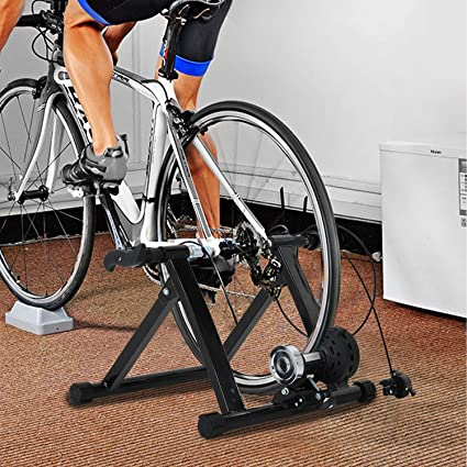 Transser Bike Trainer Stand Indoor Steel Bicycle Exercise Magnetic Stationary Stand with Noise Reduction Wheel without wire Quick Release Skewer /& Front Wheel Riser Block Included,Shipping From CA.