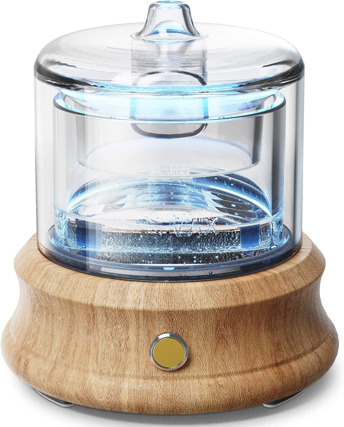 Glass Essential Oil Diffuser Humidifier, Glass Water Tank, Glass Cover, Real Wood Base, Waterless Auto Shut-Off 7 Colors Light Aroma Diffuser for Bedroom Home Living Room Office Mom Gift 80 ML