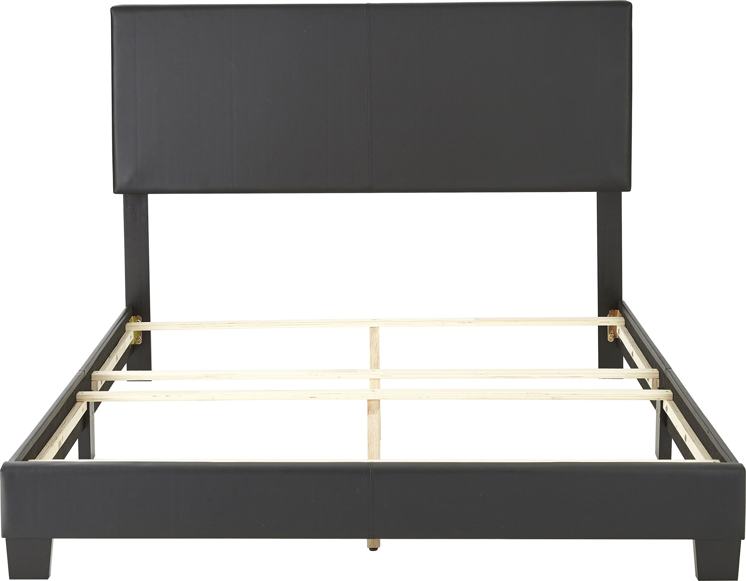 Flex Form Montana Upholstered Platform Bed Frame with Headboard: Faux Leather, Black, Full by Flex Form (Image #6)