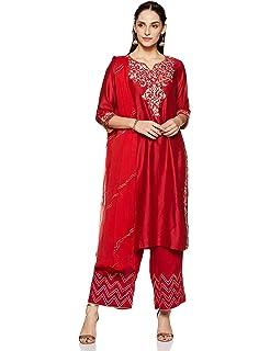 dc439b5c9 BIBA Women's Straight Salwar Suit (SKD5169_RED_42): Amazon.in ...