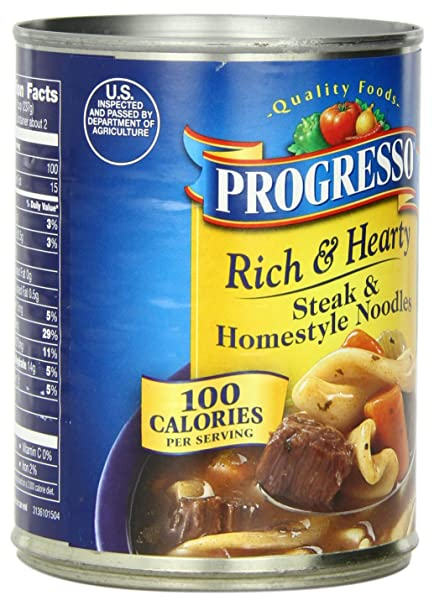 Amazon.com : Progresso Rich & Hearty Soup, Steak and Homestyle Noodles, 18.5-Ounce Cans (Pack of 12) : Grocery & Gourmet Food