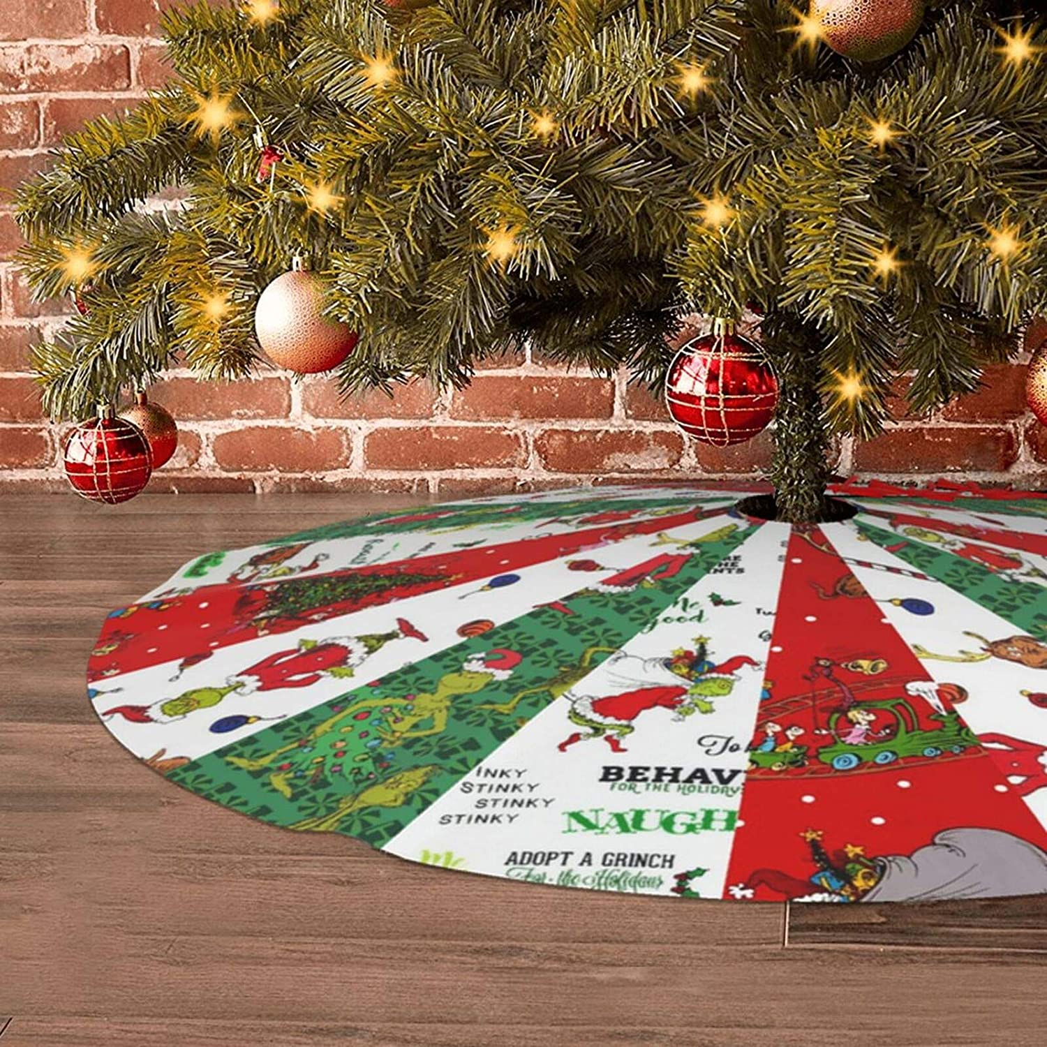 The Grinch Stole Christmas Novelty Christmas Tree Skirt Plush Tree Stand Mat Cover for Halloween Decor Holiday Party Decor 36