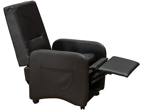 Poltrona reclinabile relax ecopelle pouf con poggiapiedi sistema