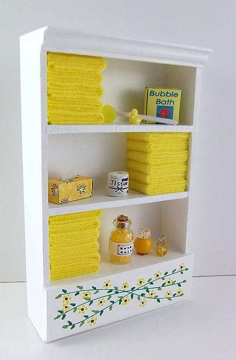 Mueble de Baño Miniatura Casa de muñecas unidad Estante Limón Toallas & Accesorios