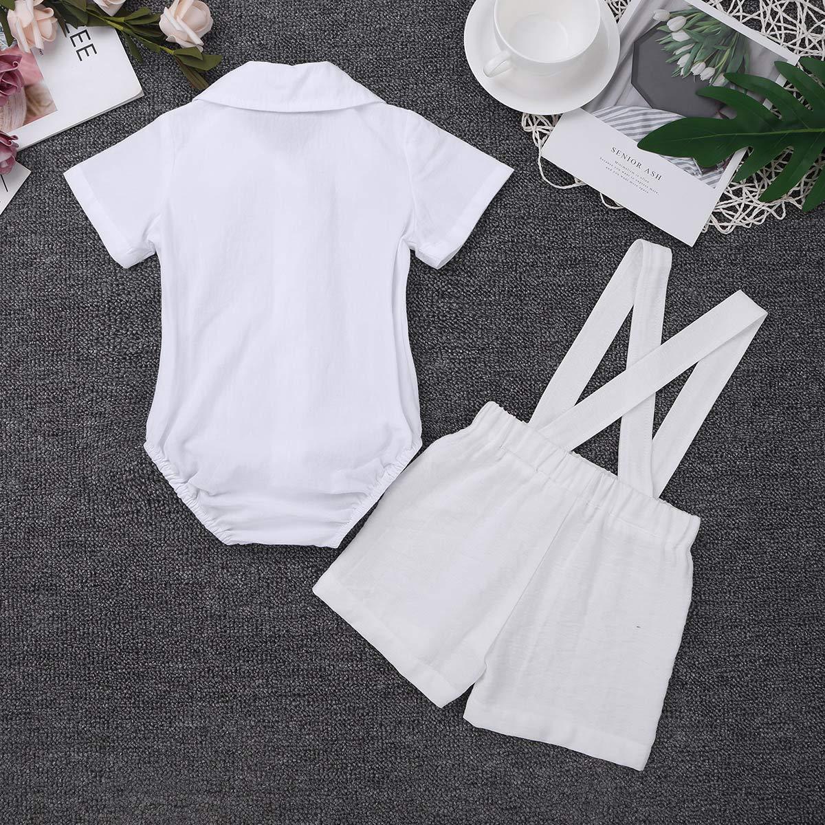ranrann Ropa de Bautizo Beb/é Ni/ño Camisa Manga Corta Pantalones de Tirantes Lino Pajarita Monos Beb/é Ni/ño
