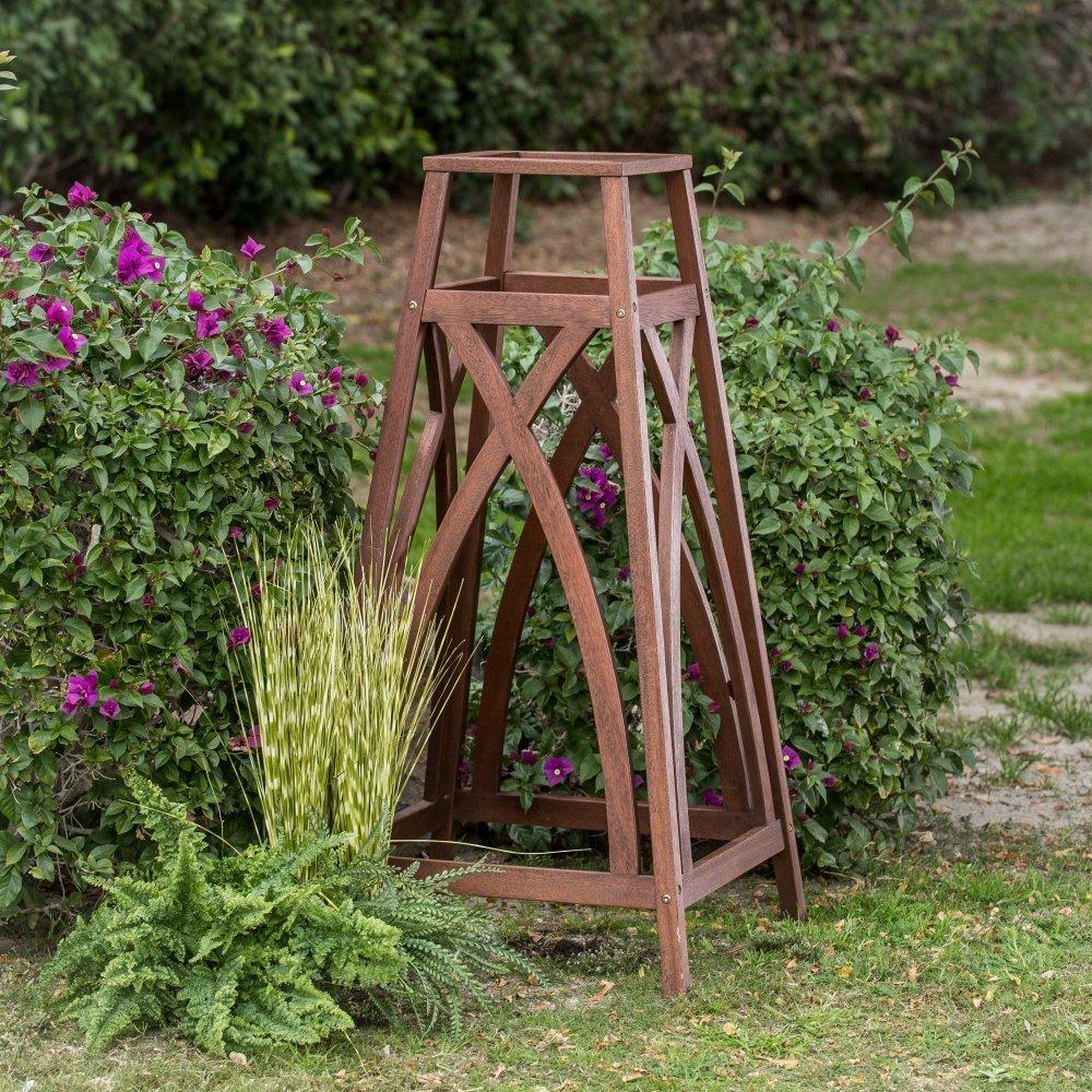 44'' Brown Finish Eucalyptus Wood Garden Obelisk Plant Trellis Outdoor Gardening