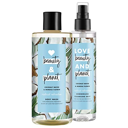 Love Beauty And Planet Radical Refresher Body Wash and Cleansing Mist, Coconut Water Mimosa Flower, 16 oz and 6.7 oz