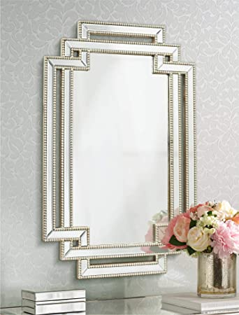 Possini Euro Design Erte Openwork Silver Beaded 27 x 39 1 2 Wall Mirror