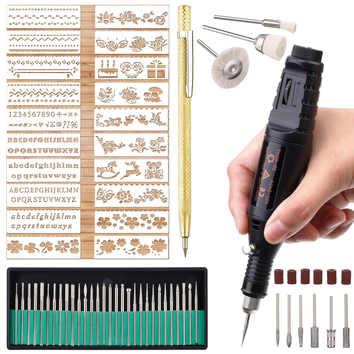 Electric Micro Engraver Pen Mini DIY Engraving Tool Kit for Metal Glass Ceramic Plastic Wood Jewelry 1 Scriber Etcher 30 Bits 6 Polishing Head 3 Wool Cleaner Bits 20 Stencils and Operating Instruction by Zonon