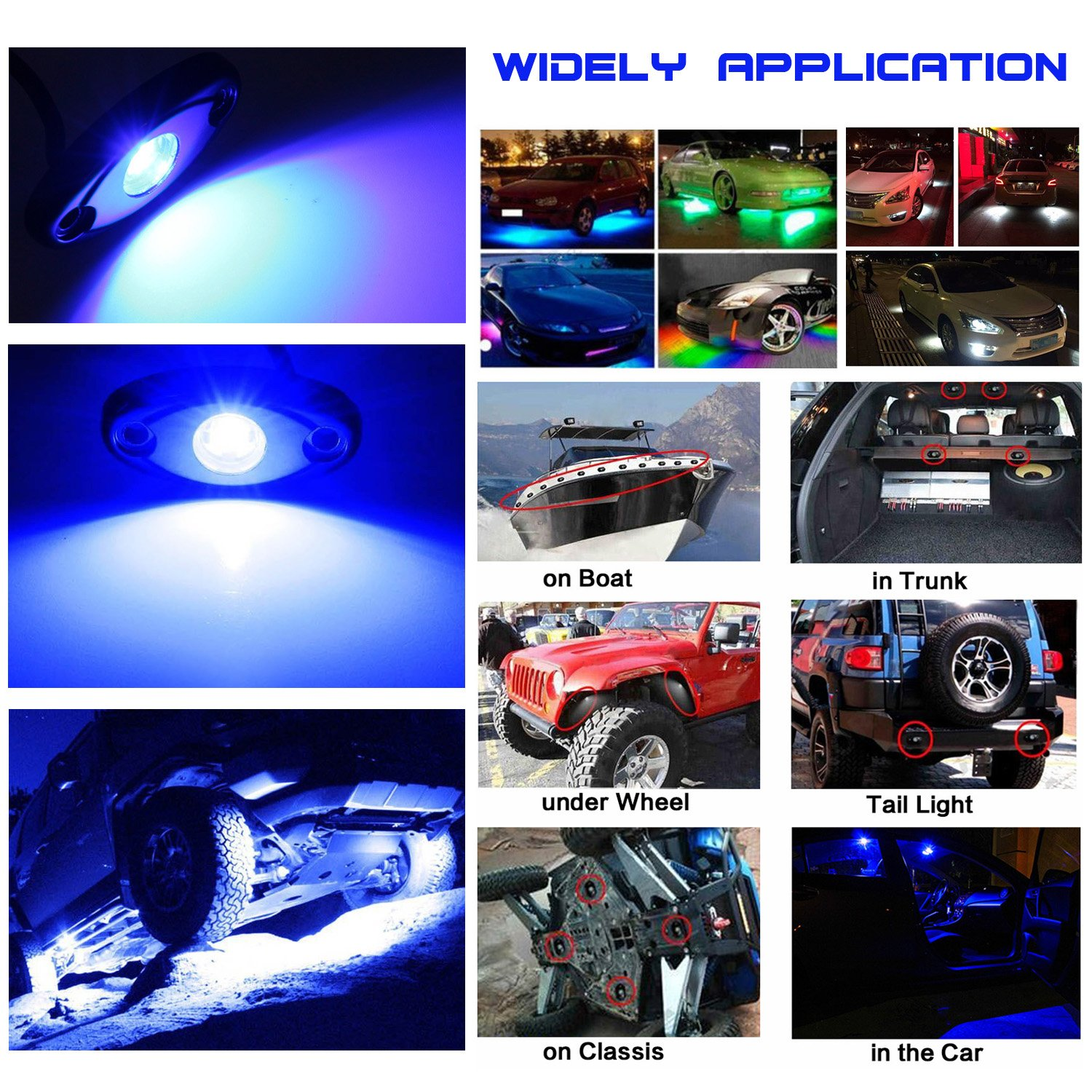 LEDMIRCY LED Rock Lights Green Kit for JEEP Off Road Truck ATV SUV Car Boat Auto High Power Underbody Glow Neon Trail Rig Lamp Underglow Lights Waterproof Shockproof Pack of 6,Green