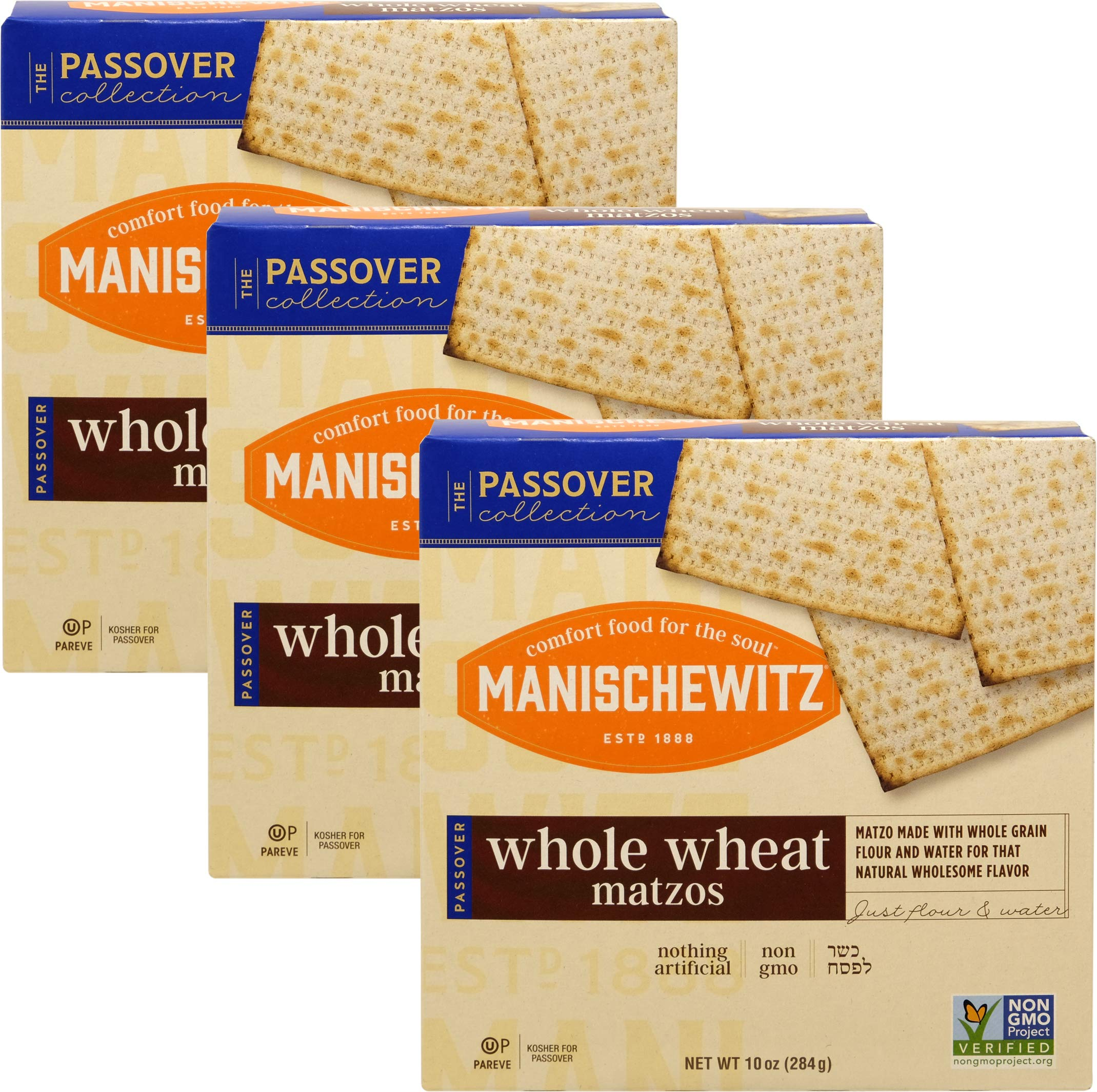 Manischewitz Whole Wheat Matzo, Kosher For Passover, 10 Ounce Box (Pack of 3, Total of 30 Oz)