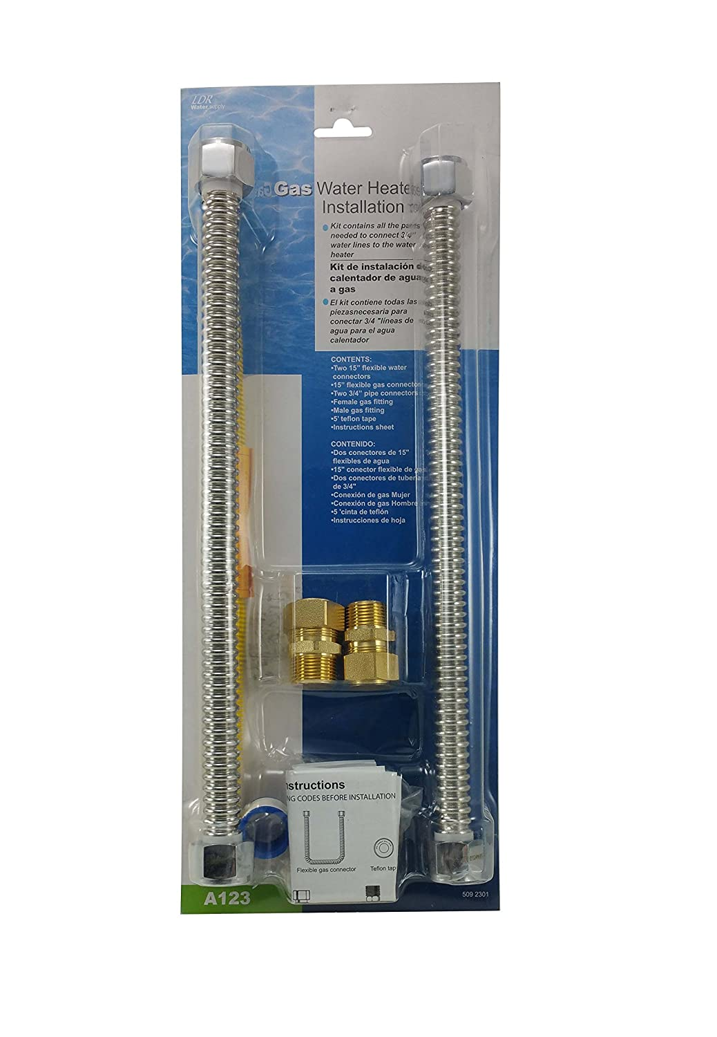 LDR 509 2301 Complete Gas Water Heater Installation Set For ¾ Threaded or Copper Pipe Water Lines - - Amazon.com