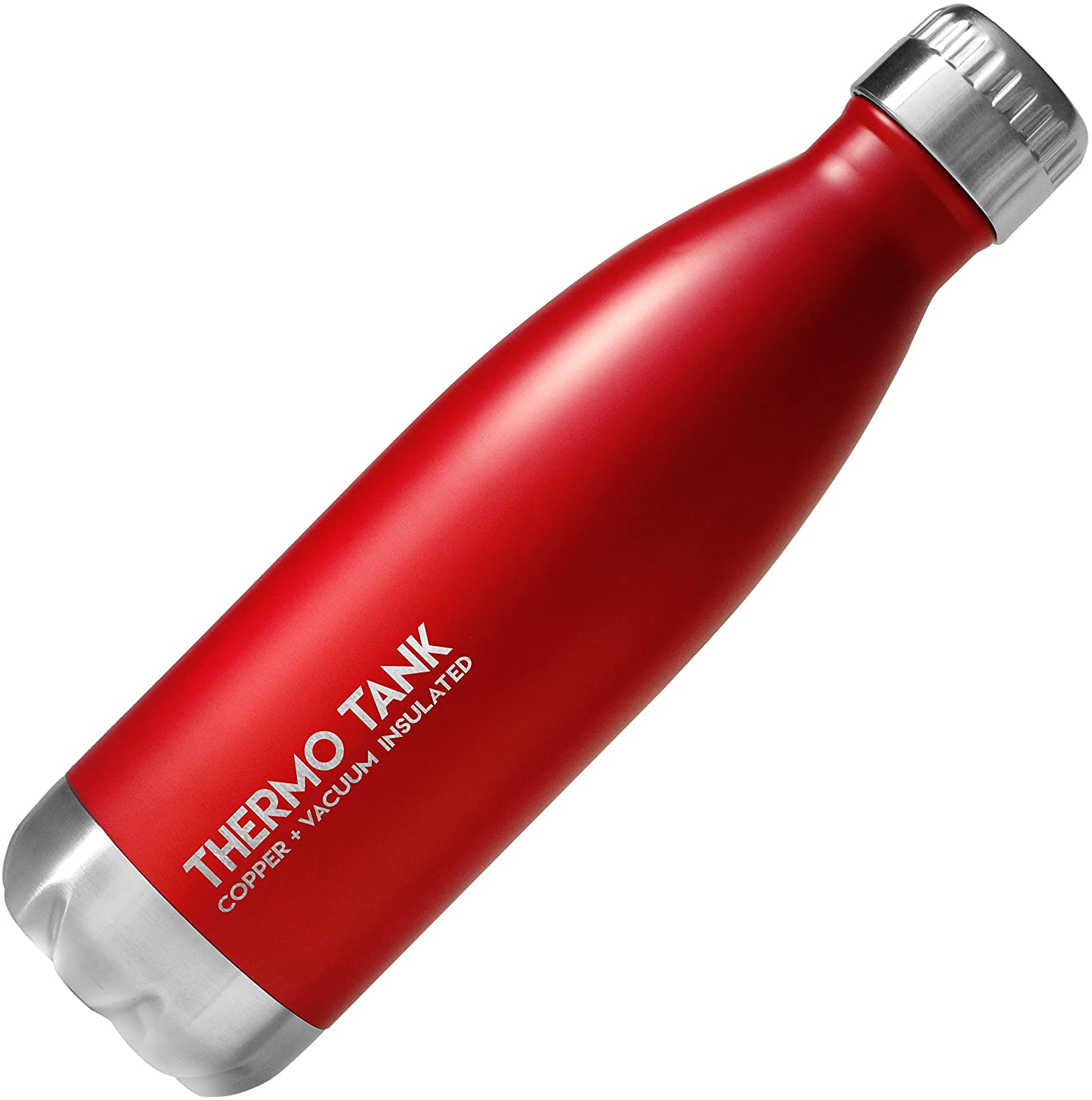 Thermo Tank Insulated Stainless Steel Water Bottle - Ice Cold 36 Hours! Vacuum + Copper Technology - 17 Ounce