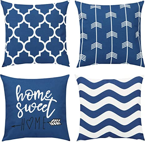 Amazon Com Maliton Throw Pillow Covers 18x18 Decorative Couch Pillows Set Of 4 Throw Pillow Covers For Couch Living Room Geometric Pattern Cotton Linen Blue Pillow Cover For Bedroom Sofa Outdoor Decor Home