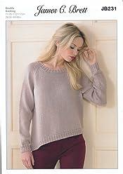 ac4a4841a884c James Brett Double Knitting Pattern Womens Long Sleeved Rib Sweater Legacy  JB231