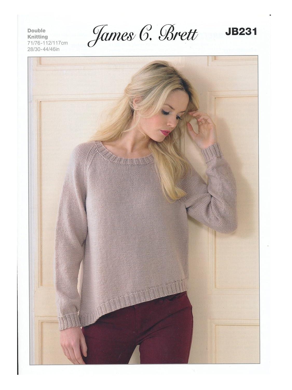 James C Brett JB231 Legacy DK Knitting Pattern Ladies Jumper Sweater ...