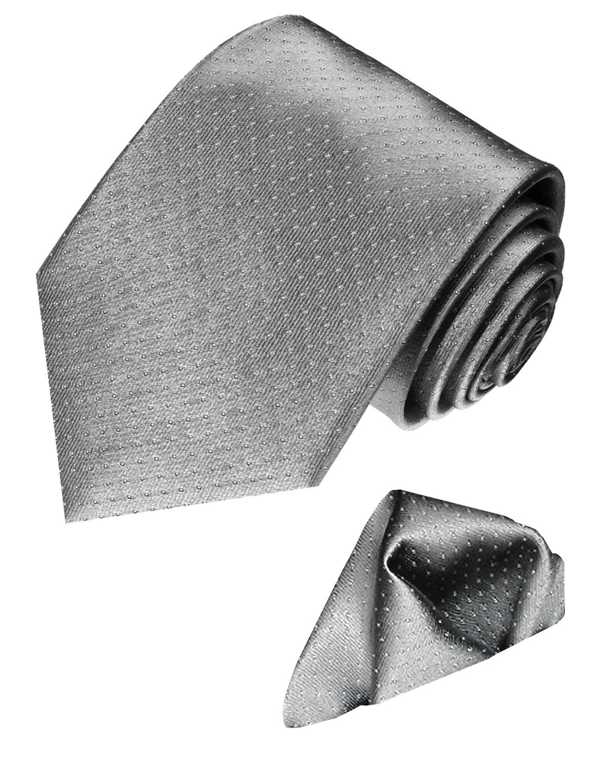 LORENZO CANA Italian Silk Business Tie Hanky Set Grey Silver Polka Dot 8449401