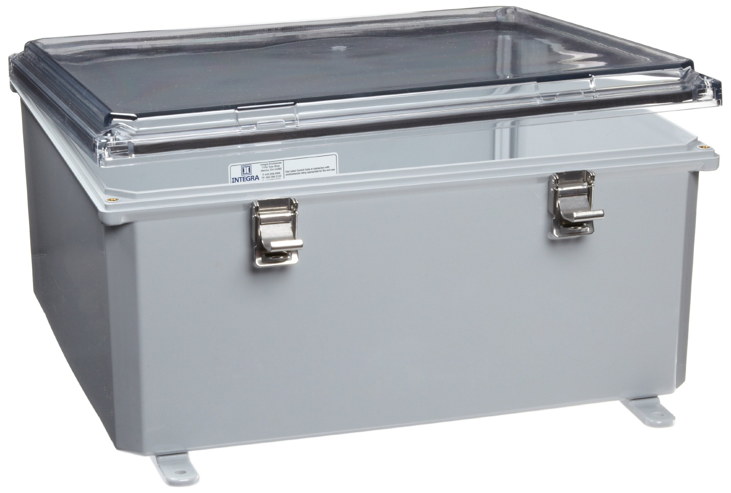 Integra H161407HCLL Premium Line Enclosure, Hinged, Locking Latch Cover, Clear Cover, Mounting Feet, 16'' Height, 14'' Width, 7'' Depth