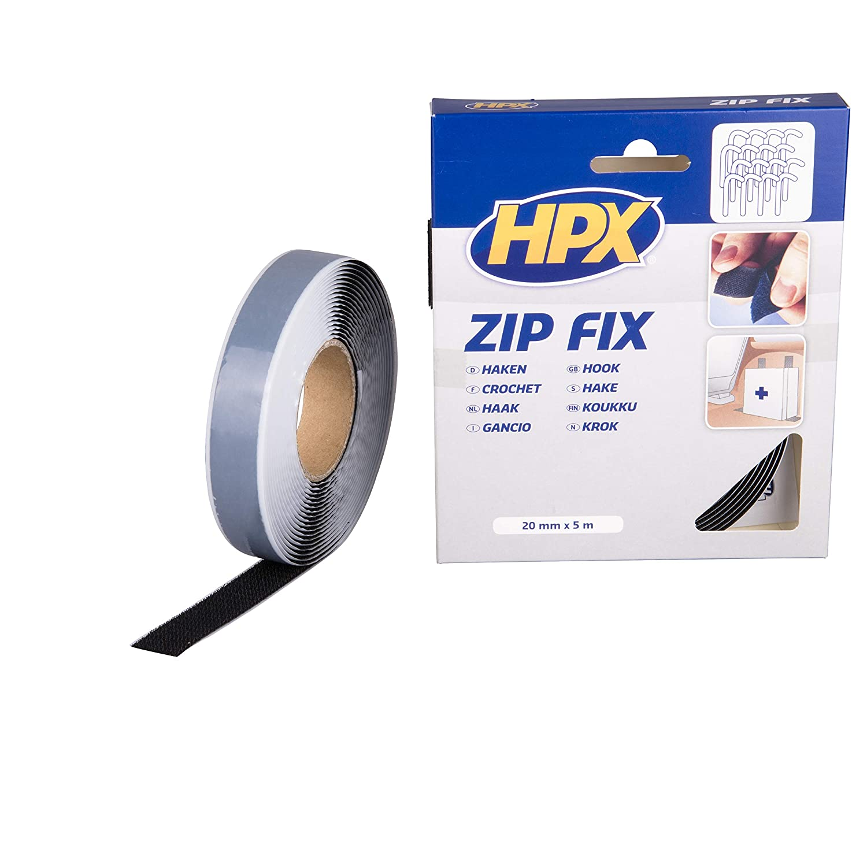 Crochet HPX Ruban Auto-agrippant Zip Fix -Noir 20mm x 5m Fixation