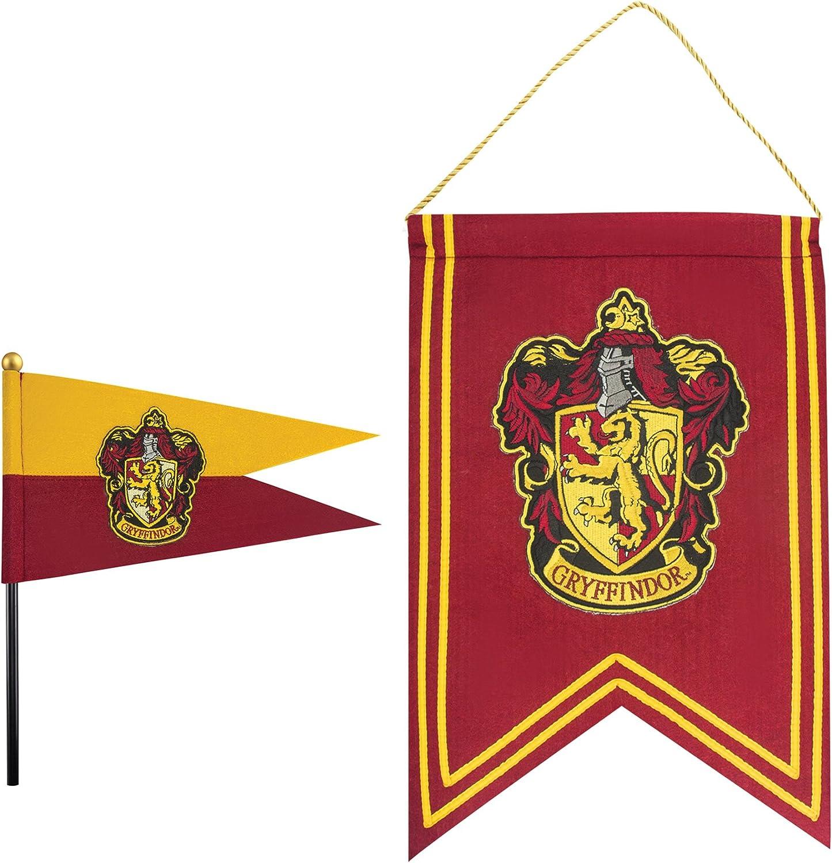 Cinereplicas Harry Potter - Juego de Banderas y Banderín - 30 x 43 cm - Oficial (Gryffindor)