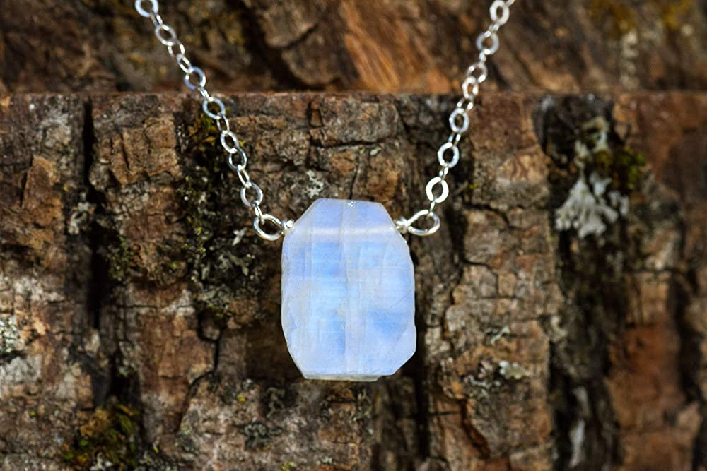 Rainbow Moonstone June Birthstone Bar Necklace in Sterling Silver 16 to18 inch