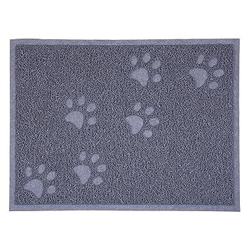 SUAVER Alfombras para Gatos Mat de Comida Cena de Plato PVC 30 x 40 cm (Gris): Amazon.es: Hogar