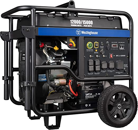 Amazon.com: Westinghouse WGen12000 Ultra Duty Portable Generator - 12000 Rated Watts & 15000 Peak Watts - Gas Powered - Electric Start - Transfer Switch & RV Ready - CARB Compliant: Garden & Outdoor