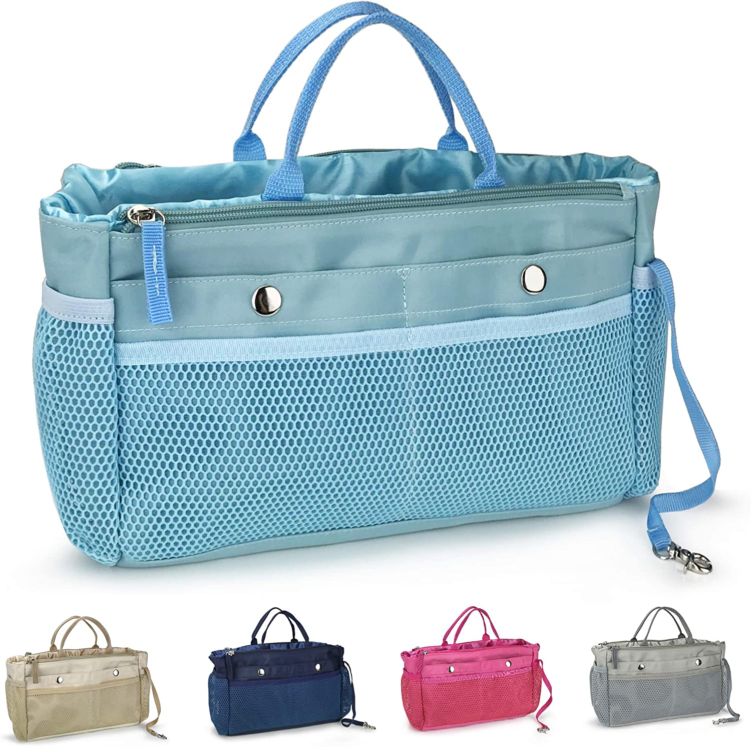 Handbag Organizer Insert 15 Pockets Purse Tote Insert with Convertible Drawstring Pouch (Blue)