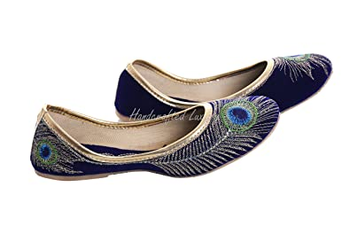 0de807f7edc7f Handcrafted Luxury Bridal Women's Velvet Khussa Shoe Peacock Embroidered  Mojari Jooti Punjabi Jutti Royal Blue And Golden