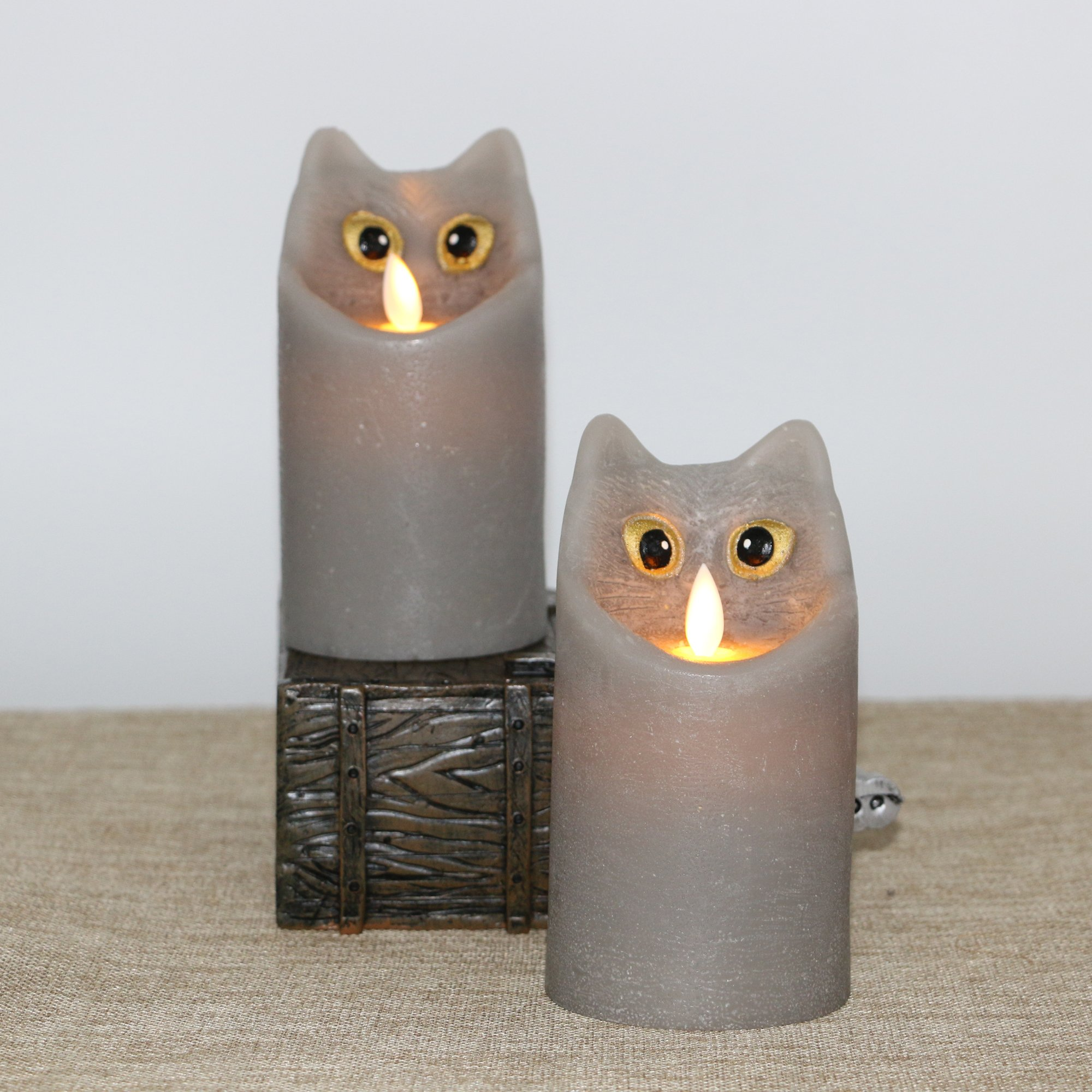 Kitch Aroma Marble Grey Color Cartoon Cat Flameless Candle with Timer For Birthday Gifts,Dia 3'' x H6'',Pack of 2 by Kitch Aroma (Image #3)
