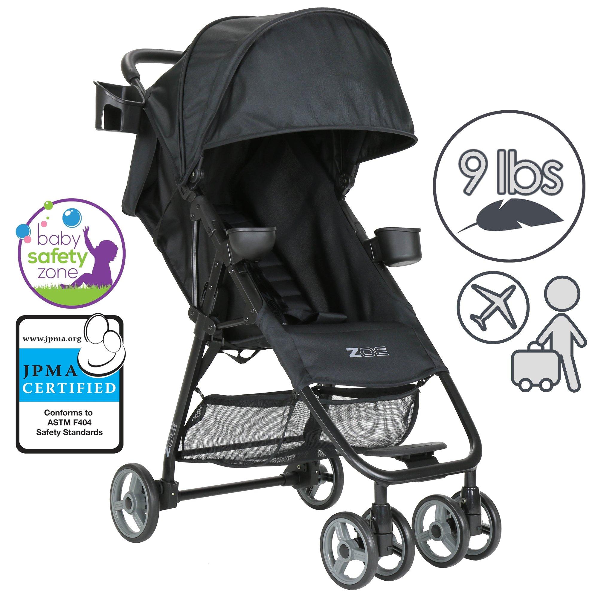 ZOE XL1 BEST Xtra Lightweight Travel & Everyday Umbrella Stroller System (Black)