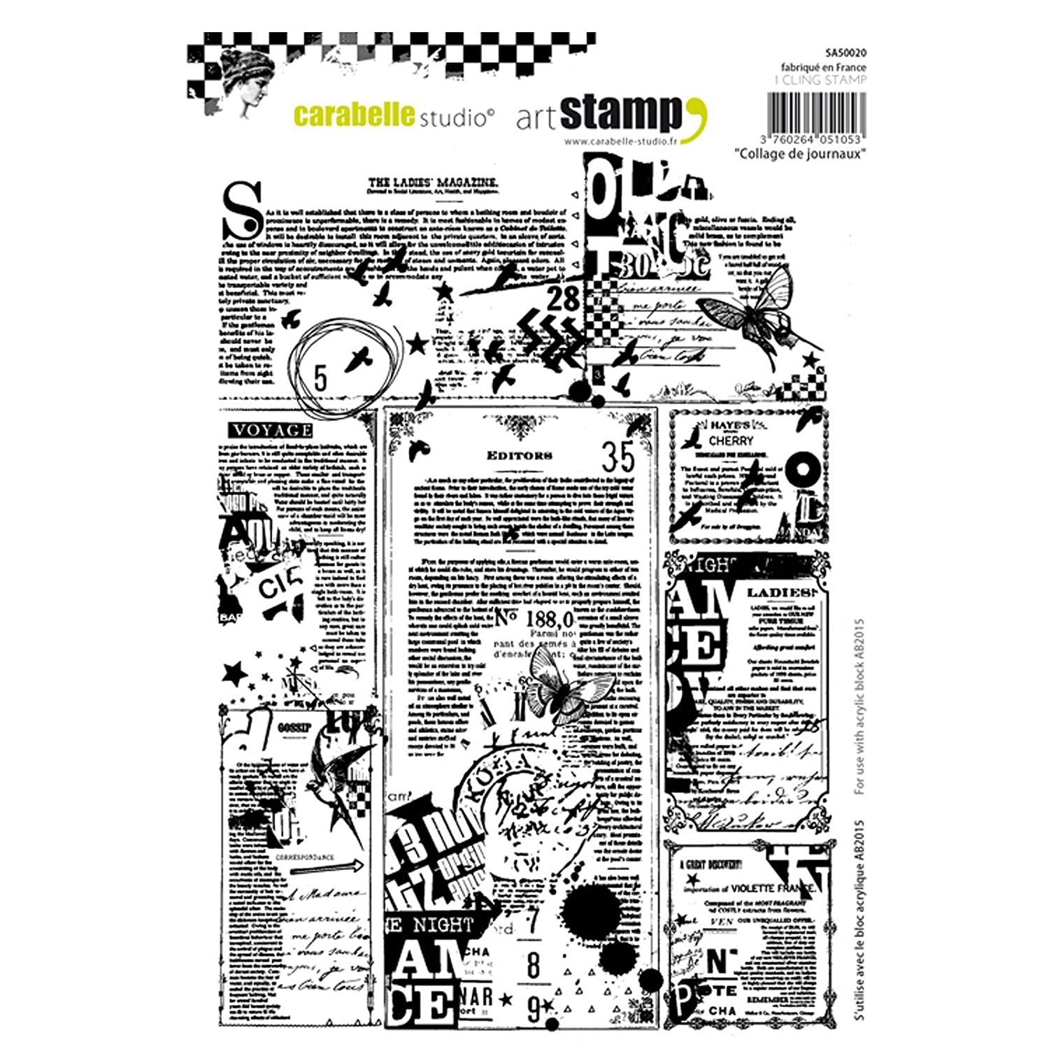 Carabelle Studio SA50020 A5 Cling Stamp - Collage de journaux