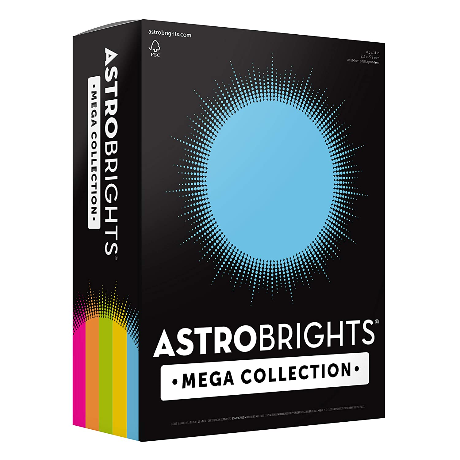 "91687 Astrobrights Mega Collection Colored Cardstock /""Brilliant/"" 5-Color Assortment 65 lb//176 GSM 8 /½ x 11 More Sheets! Exclusive 320 CT."