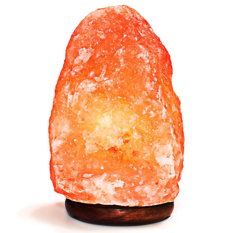 自然Himalayan塩ランプ。手彫り、エレガントな木製ベース。Includes電球、7インチ、4 to 7に5ポンド B01M66BHMY