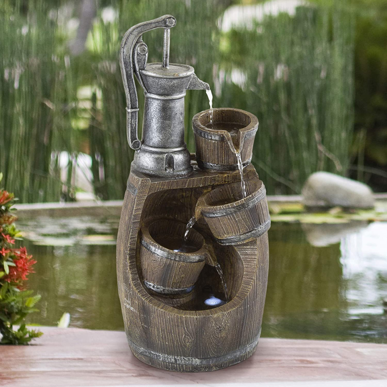 Pure Garden 50-LG1214 Old Fashion Hand Pump Fountain, Silver