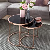 Kadimadesign Ensemble de Conception de 2 Tables gigognes ø 42cm   45cm  Verre métal Noir  9c0f8c933739