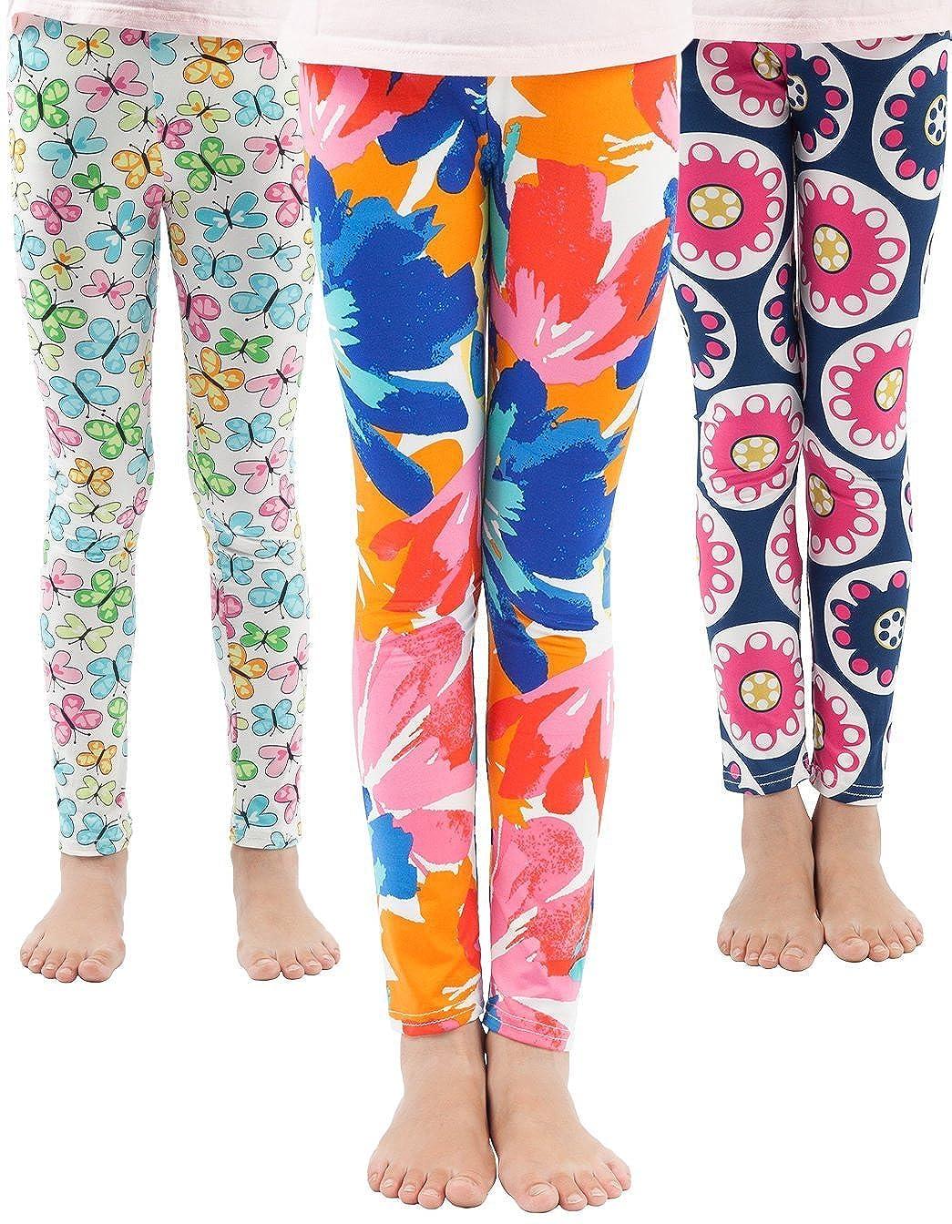 WEWINK PLUS Girls Toddler Leggings Pants 3 Pack Stretchy Printing Flower Classic Leggings for Kids