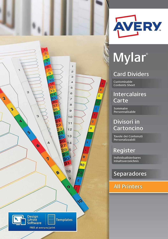 Avery extra breite Register Multilochung A4 farbige Mylar-Reiter 1-12 wei/ß