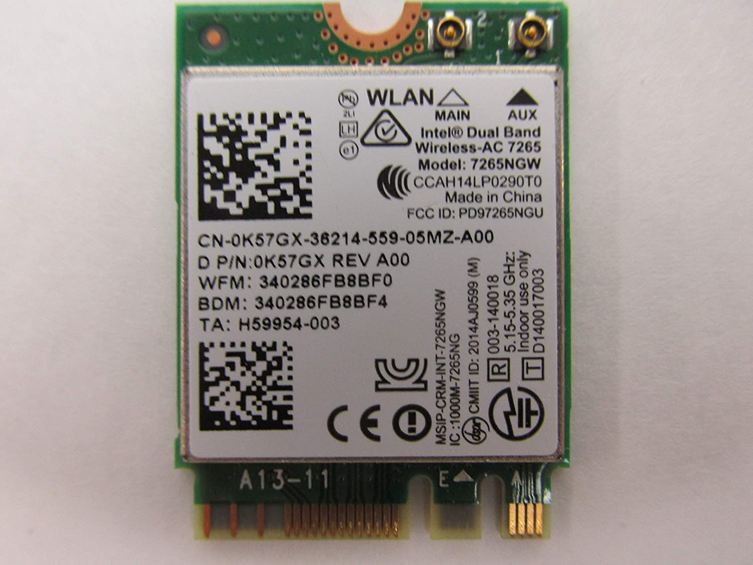 Dell M.2 K57GX Bluetooth WLAN 802.11ac Wireless Card 7265NGW