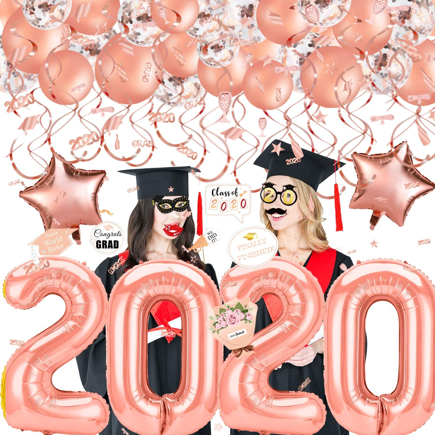 Konsait 2020 Graduation Decorations, 40Inch Number 2020 Balloons, Mylar Latex Balloon, Hanging Swirls, Confetti,Photo Booth Props for Rose Gold Grad Graduation Party Decorations Favors Supplies