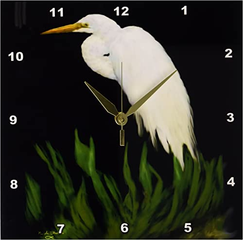 3dRose DPP_24849_1 Digital Oil Painting White Egret in Grass-Wall Clock, 10 by 10-Inch