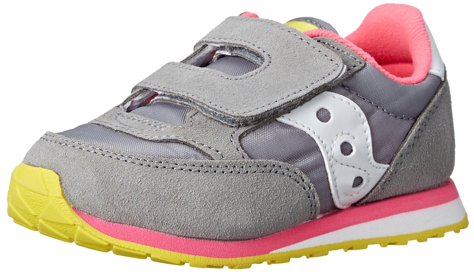 Saucony Girls Baby Jazz HL Sneaker (Toddler/Little Kid), Grey/Pink, 5 M US Toddler