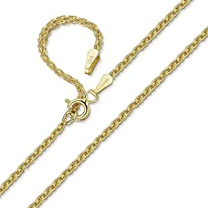 Amberta 9K Genuine Gold - Various Types - Classic Chain Necklace for Women and Men - Adjustable 18 inch / 46 cm to 20 inch / 51 cm Long - Made in Italy