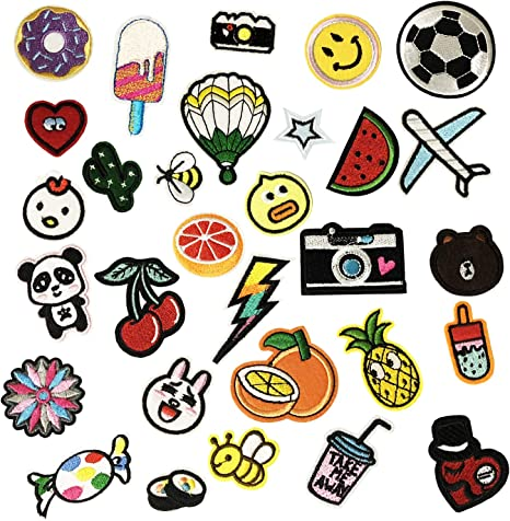 30PCS Iron On Patches Embroidered Appliques DIY Decoration or Repair,Sew On Patches for Clothing Backpacks Jeans Caps Shoes etc A Style