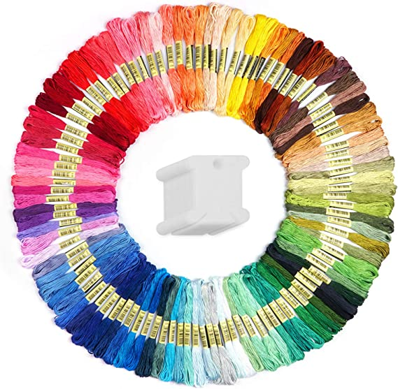 Crafts Floss Cross Stitch Threads Premium Rainbow Color Embroidery Floss bobbins Friendship Bracelets Floss 20 Bobbins Per Pack Embroidery Floss Electric Blue Gradient