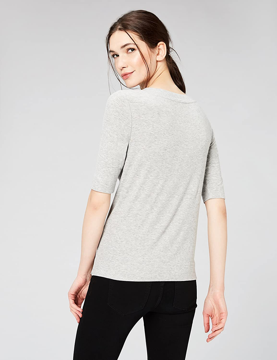 b58a94a9 Amazon.com: Daily Ritual Women's Rib Knit Jersey Elbow-Sleeve Boat Neck  Shirt: Clothing