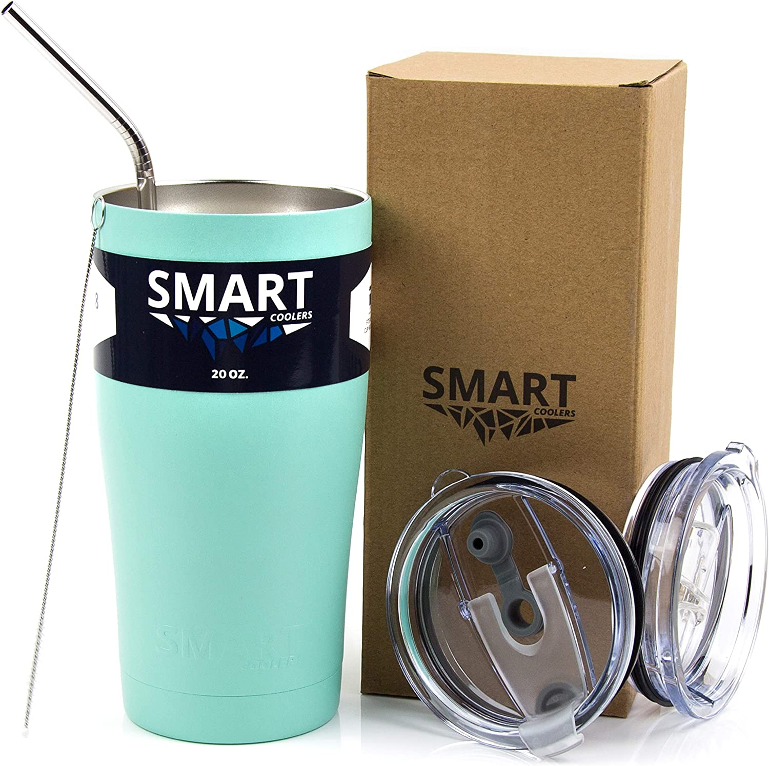 Smart Cooler 20 Oz. Sweat Free Ultra-Tough Double Wall Stainless Steel Tumbler Cup with Leak-proof Heavy Duty Tumbler Lids (Slide Lid & Flip Lid), Straw, Cleaning Brush - Seamist