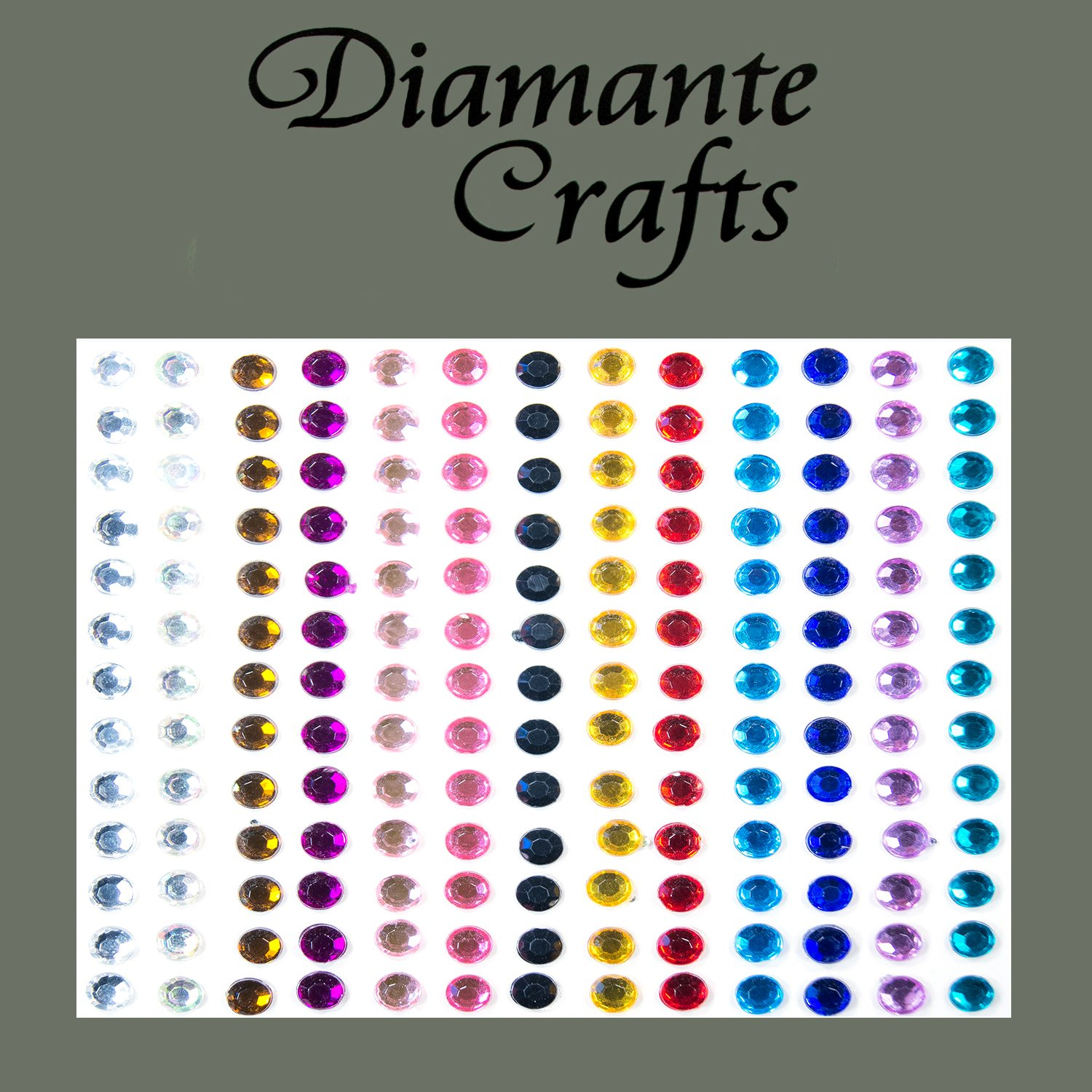 169 x 4mm Mixed Colour Diamante Self Adhesive Rhinestone Body Vajazzle Gems - created exclusively for Diamante Crafts