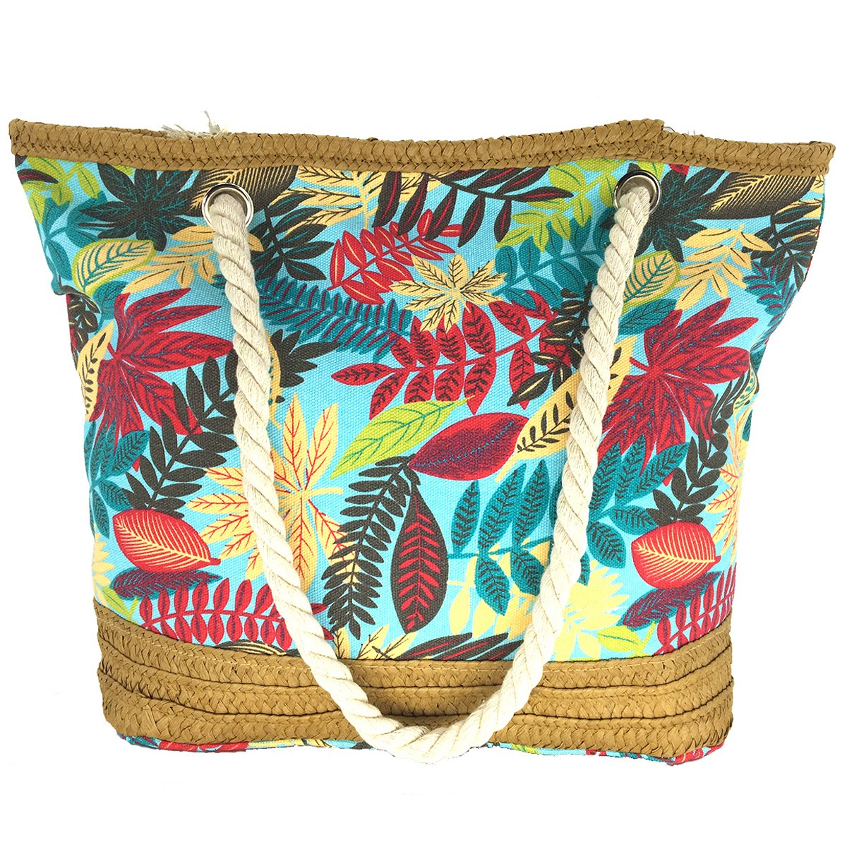 MeliMe X-Large Travel Shoulder Beach Tote Bag with Handmade Woven Straw Binding, Cotton Rope Handles, Waterproof Lining and a pocket inside. (Style 05)